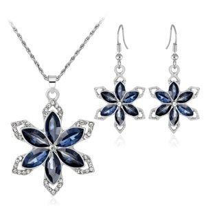 LUOTEEMI Sterling Silver Cystal Jewelry Set